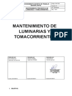 Procedimiento escrito de Trabajo Seguro (PETS) -  Mantenimiento de luminarias y tomacorrientes