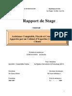 Rapport de Stage. Assistance Comptable, Fiscale et Conseils Sociaux Apportés par un Cabinet d Expertise Comptable à ses Clients THEME