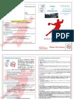Plaquette Présentation Section Sportive Scolaire Handball 2020-2021