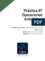 Práctica No. 7 Operaciones Aritmeticas
