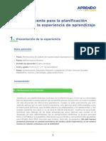 Guia de Planificacion Curricular (1- 2) Experiencia de Aprendizaje 3 Autocuidado y Educacion Ambiental Secundaria AeC Ccesa007