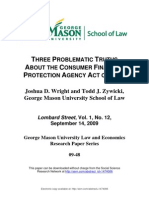 Three Problematic Truths About the Consumer Financial Protection Agency Act of 2009