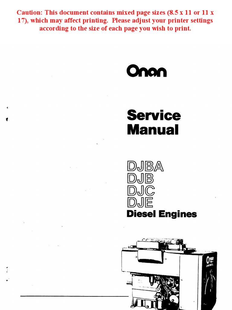 Onan Service Manual Djba Djb Djc Dje Diesel Engines 967 0751 5000 Wiring Diagram Internal Combustion Engine Exhaust Gas