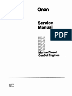 Onan Service Manual MDJA MDJB MDJC MDJE MDJF Marine sel ... on