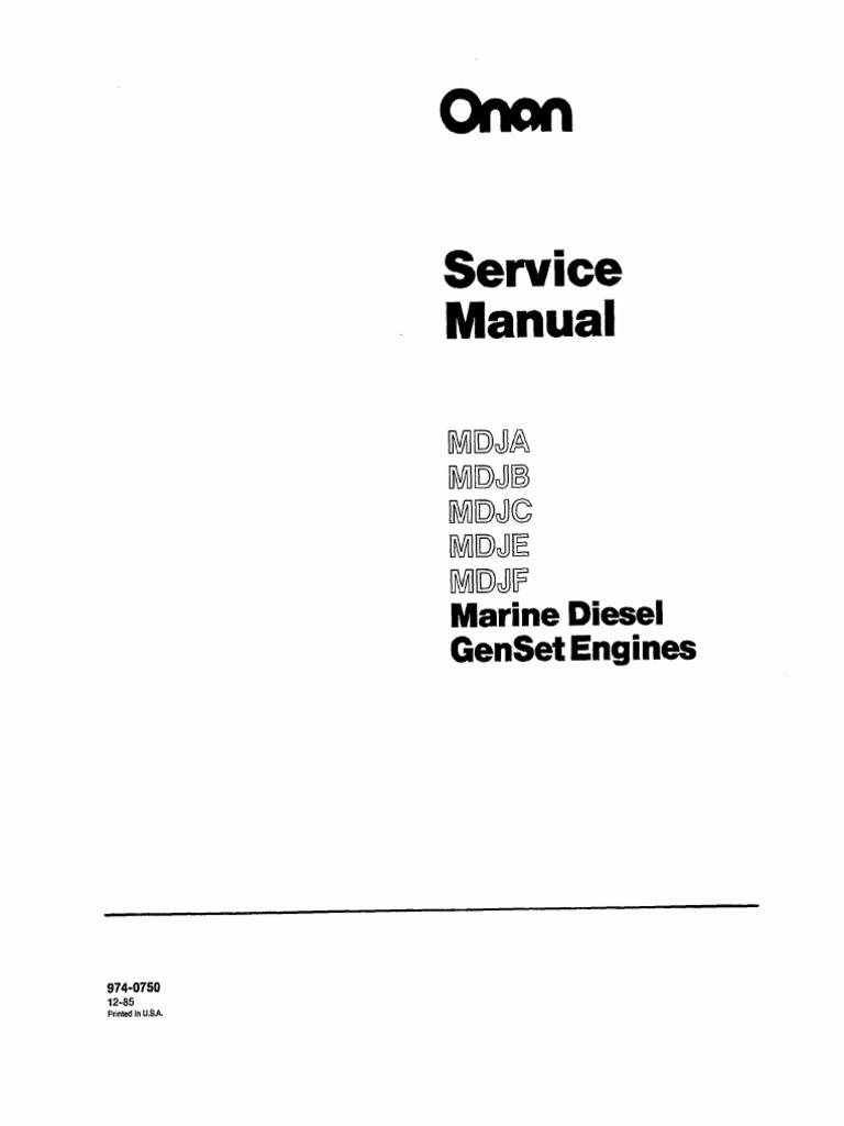 Onan Service Manual MDJA MDJB MDJC MDJE MDJF Marine Diesel Genset Engines  974-0750 | Internal Combustion Engine | Exhaust Gas