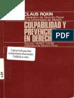Roxin, Claus - Culpabilidad y Prevencion en Derecho Penal