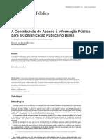 A Contribuição Do Acesso à Informação Pública Para a Comunicação Pública No Brasil