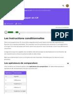 Les instructions conditionnelles - Apprenez à développer en C# - OpenClassrooms_1604839338600