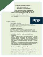 I EXAMEN DE INTRODUCCION A LA METODOLOGIA DE LA INVESTIGACION