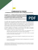 Communiqué de presse pour l'inauguration de la Maison du Portugal