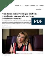"""""""Pandemia veio provar que um bom trabalhador presencial é um bom trabalhador remoto"""" _ 20210519 _ PÚBLICO"""