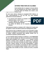 La Nueva Reforma Tributaría en Colombia