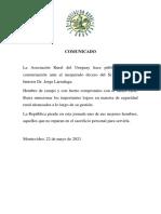 ARU COMUNICADO DECESO Dr JORGE LARRAÑAGA