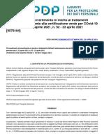 GarantePrivacy-9578184_Provvedimento di avvertimento certificazione verde per COvid-19 prevista dal d.l. 22 aprile 2021, n. 52 - 23 aprile 2021