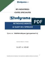 BTS Industriel Sujet Mathematiques Groupement A