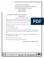GRADO SEGUNDO EVALUACIÓN DE COMPRENSIÓN LECTORA PRIMER PERIODO 2021