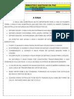 ATIVIDADE DE CIÊNCIAS - A ÁGUA - 4º E 5º ANO