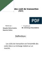 La Theorie Des Cout de Transaction