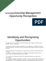 Entrepreneurship Management-Opportunity recognition