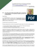 Force Démocratique Haïtien Intégré-FDHI rejoint le regroupement de Partis Politiques et des Organisations Populaires pour dire NON au RÉFÉRENDUM.