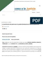 La sustitución de patronos no puede declararse en fase de ejecución │ Acceso a la Justicia