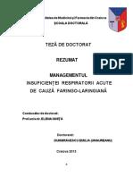 Managementul insuficientei respiratorii acute de cauza faringo-laringiana