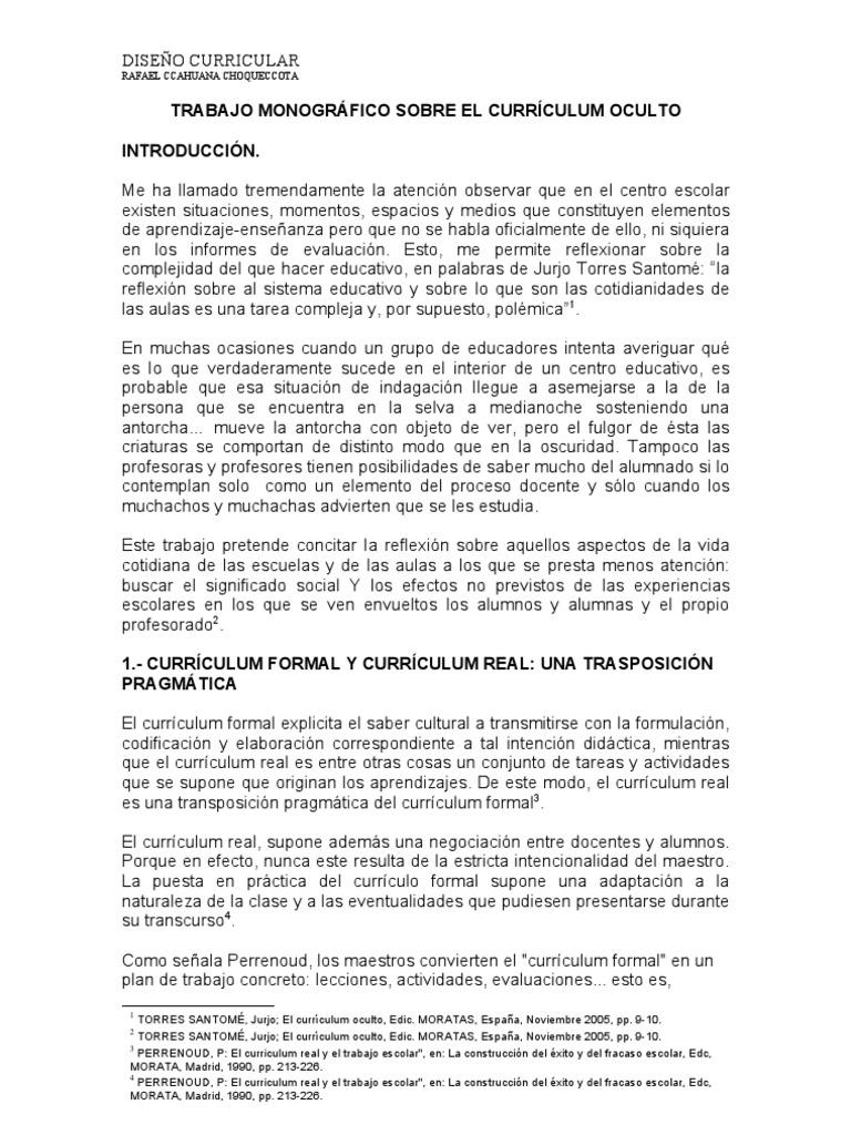 TRABAJO DE INVESTIGACIÓN SOBRE EL CURRÍCULO OCULTO