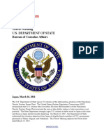 Travel Warning US State Department Bureau of Consular Affairs - Japan - March 16, 2011