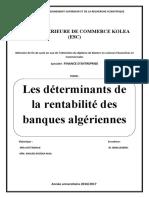 mémoire , les detreminants de la rentabilité des banques algeriennes