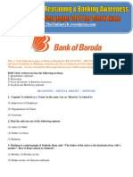 Bank of Baroda Reasoning & Banking Awareness Model Question paper 2011 for Clerk Exam - TheOnlineGK