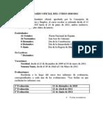 CALENDARIO OFICIAL DEL CURSO 2011
