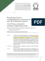 Pensamiento Crítico- conceptualización y relevancia en el seno de la Educación Superior