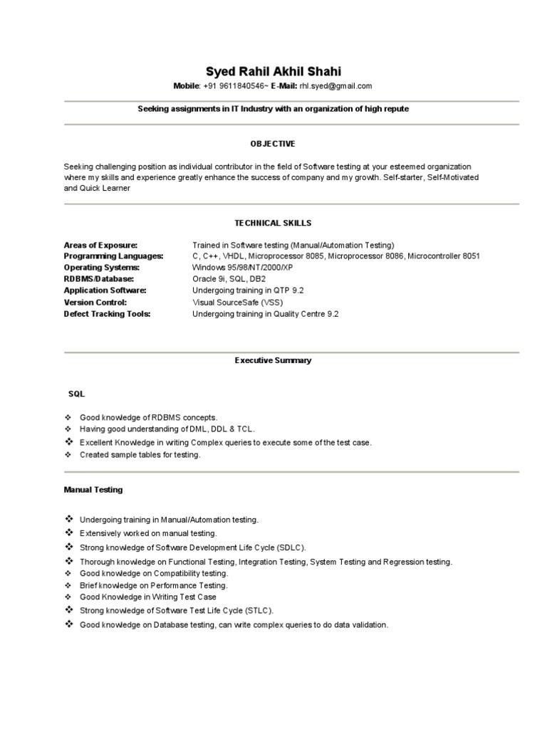 Syed Rahil CV | Software Testing | Databases