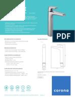 CA1045551-griferia-lavamanos-monocontrol- Plastico cascade-alta-ficha-tecnica