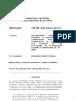 Consulta No. 745 de 2011 CNE