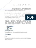 Especialización en Gestión Para El Desarrollo Humano en La Organización