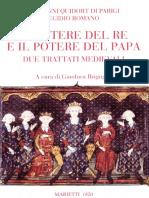 Egidio Romano, Giovanni Da Parigi, Gianluca Briguglia - Il Potere Del Re e Il Potere Del Papa. Due Trattati Medievali-Marietti (2009)