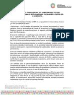 11-08-2020 PUBLICAN EN EL DIARIO OFICIAL DEL GOBIERNO DEL ESTADO REAPERTURA GRADUAL DE ACTIVIDADES NO ESENCIALES A PARTIR DEL 12 DE AGOSTO