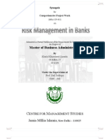 Synopsis for Comprehensive Project - Risk Management - Finance