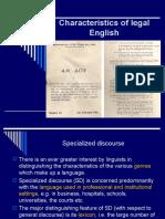 Advanced English Characteristics of Legal English 2009-2010