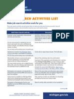 Work Search Activities List