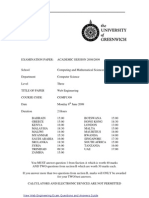 Web Engineering Exam June 2009 - UK University BSc Final Year