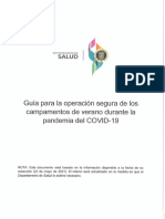 Guía Para La Operación Segura de Campamentos de Veranos Durante La Pandemia Del Covid-19.