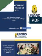 Sistema Nacional de Gestion Del Riesgo de Desastres 2019