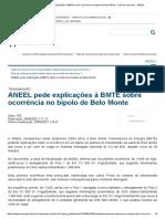 ANEEL Pede Explicações à BMTE Sobre Ocorrência No Bipolo de Belo Monte - Sala de Imprensa - ANEEL
