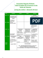 Planning et description des ateliers