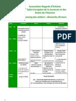 Planning et description des ateliers