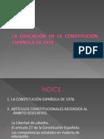 PRESENTACIÓN DEL TEMA DE LA EDUCACIÓN EN LA CONSTITUCIÓN ESPAÑOLA DE 1978
