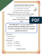 contribution à l'évaluation de la qualité physico chimique de l'oued El madhar et Lgourzi region
