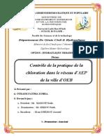 Contrôle de la pratique de la chloration dans le réseau d'AEP de la ville d'OEB